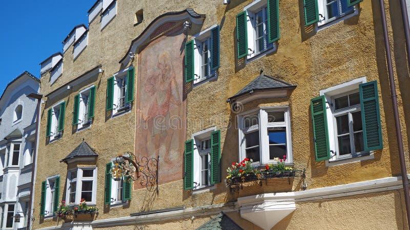 Vipiteno, Bolzano. Facade of the Tyrolean traditional house royalty free stock photos