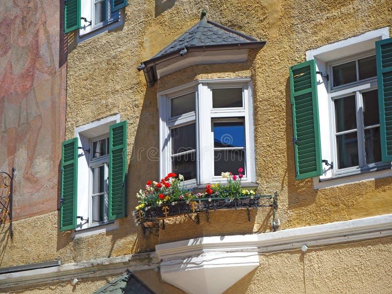 Vipiteno, Bolzano. Facade of the Tyrolean traditional house royalty free stock image