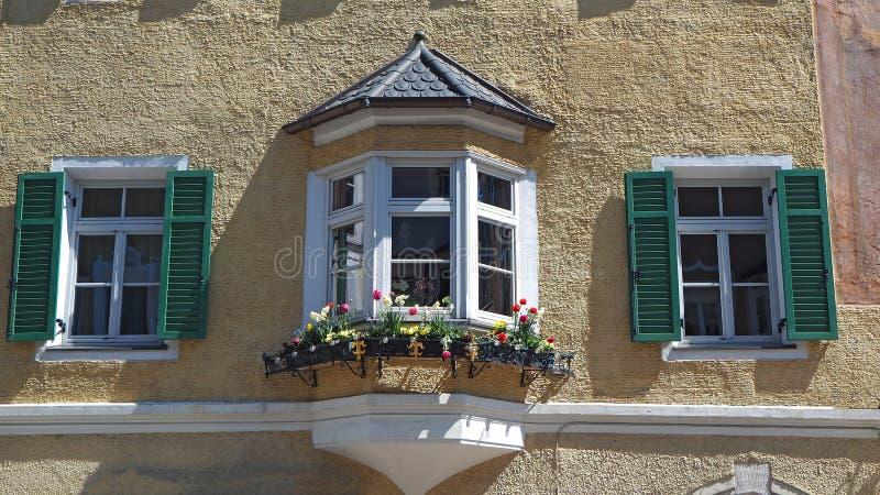 Vipiteno, Bolzano. Facade of the Tyrolean traditional house stock image