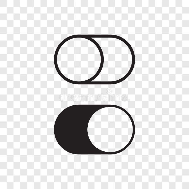 Vippknappströmbrytaren vänder av på symboler för rengöringsduk UI royaltyfri illustrationer