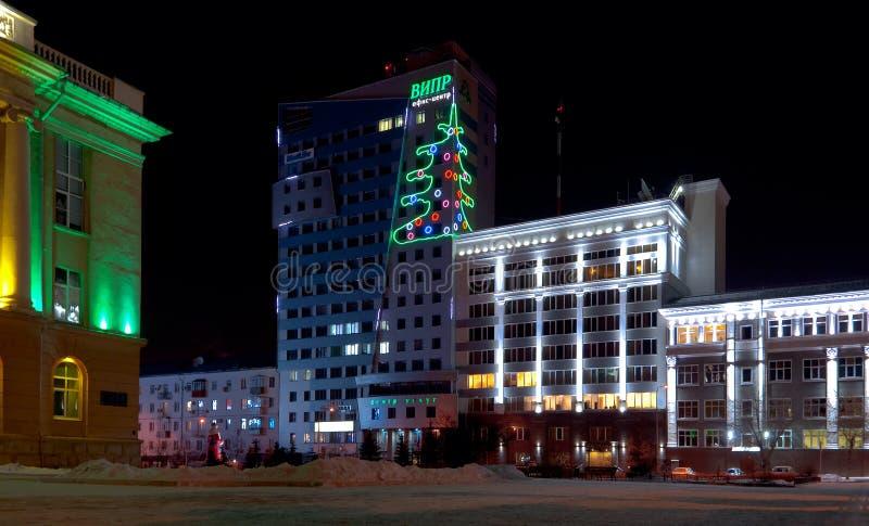 VIPR的商业中心的夜视图 图库摄影