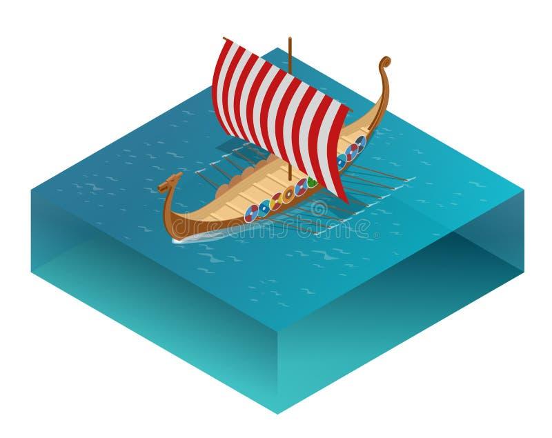 Viquingue drakkar Navio de navigação que flutua nas ondas do mar Elemento tirado mão do projeto Ilustração da gravura do vetor do ilustração royalty free