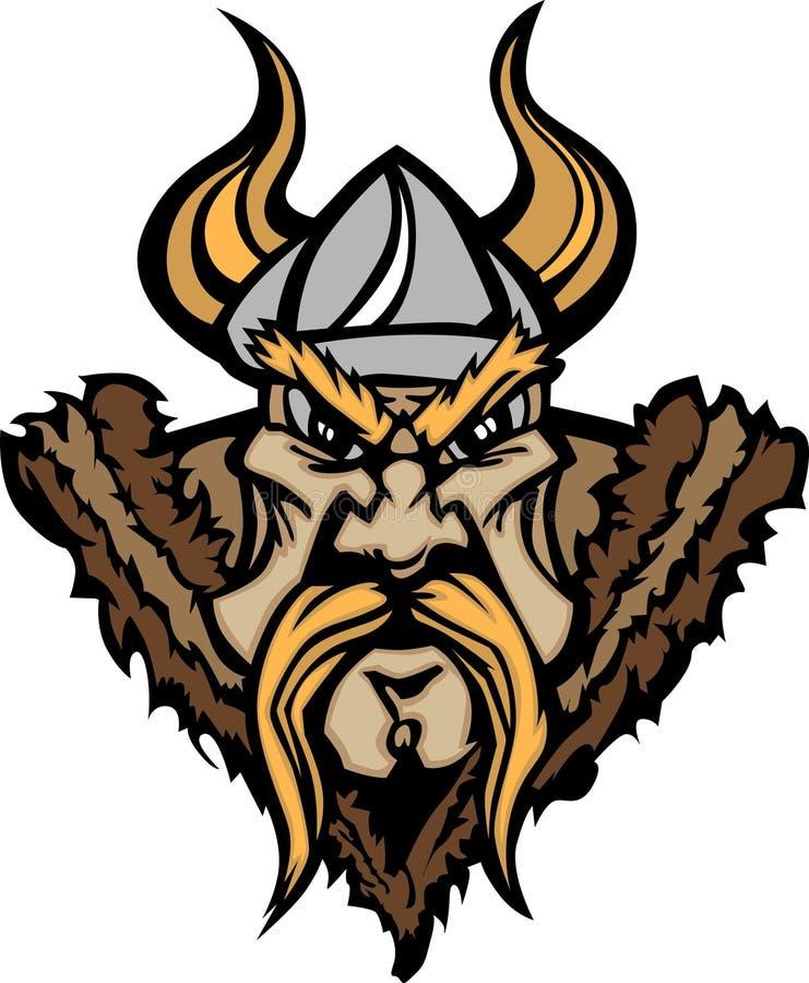 Viquingue/logotipo bárbaro dos desenhos animados da mascote ilustração do vetor