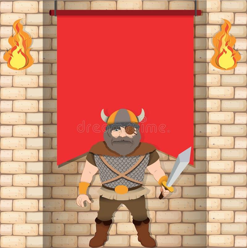 Viquingue masculino com bandeira vermelha ilustração royalty free