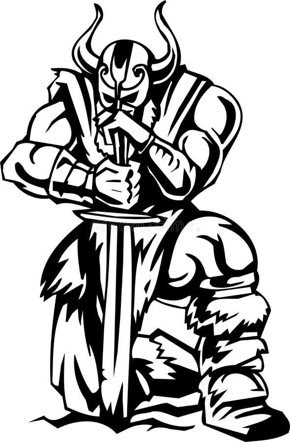 Viquingue nórdico - ilustração do vetor. Vinil-pronto. ilustração do vetor