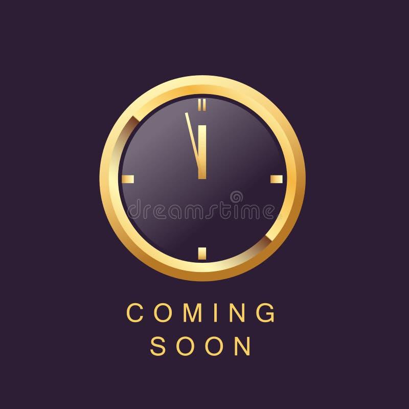 Vir logo molde do projeto cronometra a cor elegante do ouro ilustração royalty free