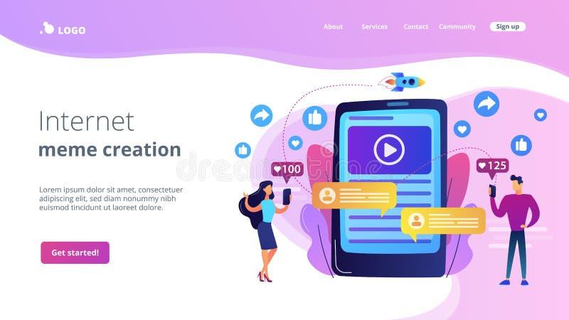 Viral content concept landing page. Digital marketing, online advertising, SMM. App notification, chatting, texting. Viral content, internet meme creation, mass vector illustration