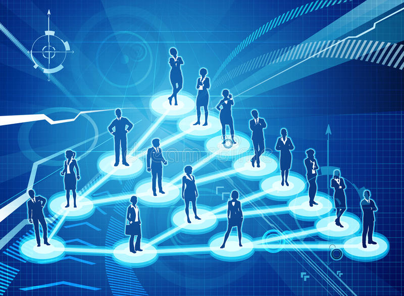 Viral Marketing Business Network Concept. An illustration of interconnected linked business people. A viral marketing or social networking concept royalty free illustration