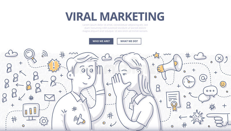 Viral Marketing Doodle Concept. Doodle illustration of passing, spreading marketing message about valuable product or service from person to person by internet