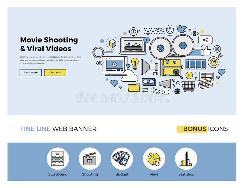 Viral movie shooting flat line banner. Flat line design of web banner template with outline icons of viral video marketing, movie shooting, professional TV stock illustration