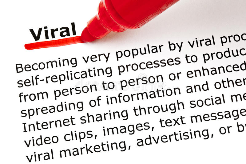 Viral underlined with red marker. The word Viral underlined with red marker on white paper