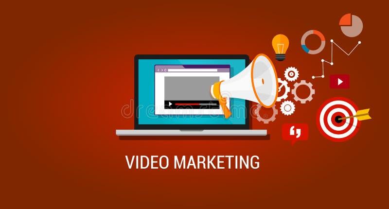 Viral video marketing advertising webinar vector illustration
