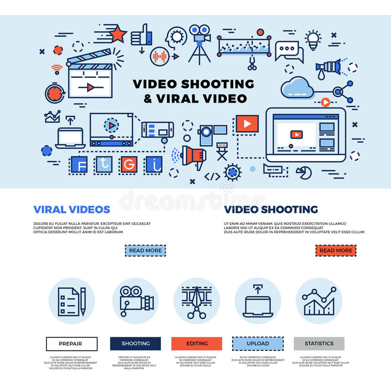 Viral video marketing, movie film-making, professional TV production vector web site design. Video technology making and promotion. Concept internet video royalty free illustration