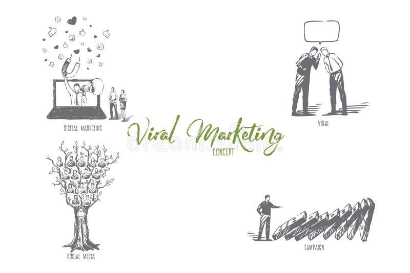 Viren- und digitales Marketing, Social Media, Kampagnenkonzeptskizze vektor abbildung