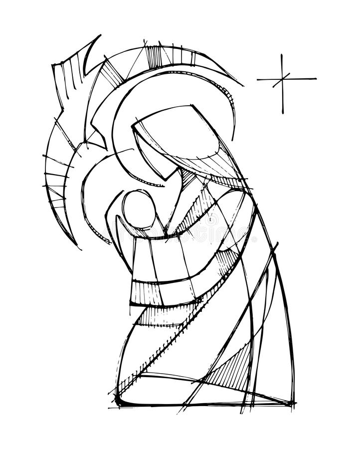 Virgem Maria com bebê Jesus e Espírito Santo ilustração royalty free