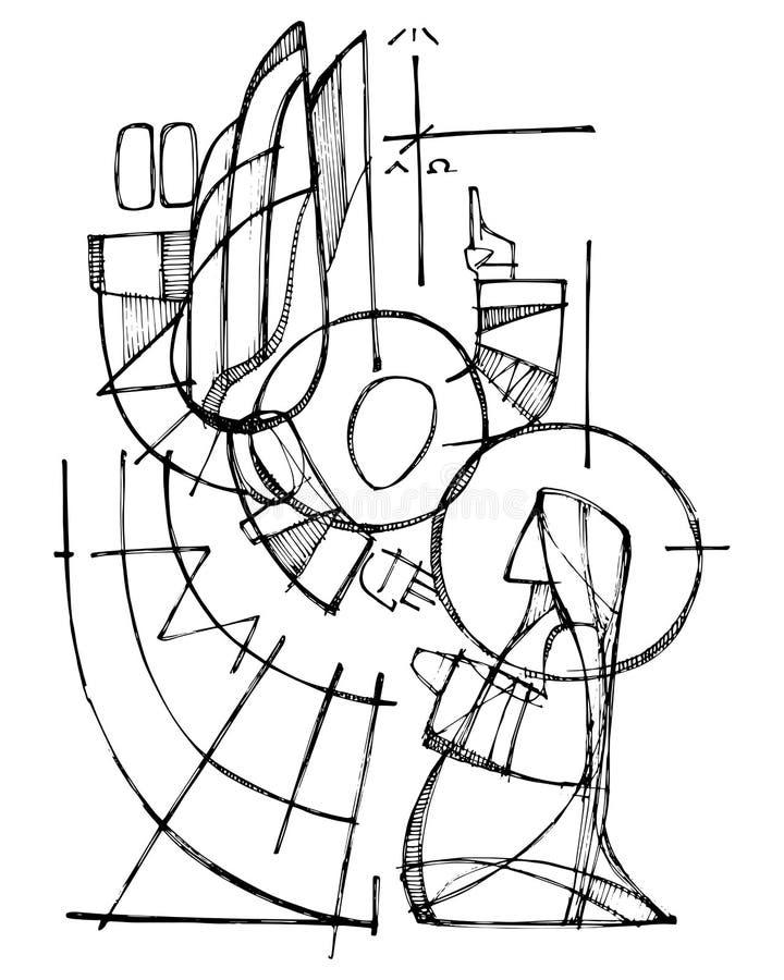 Virgem Maria e anjo na cena do aviso ilustração stock