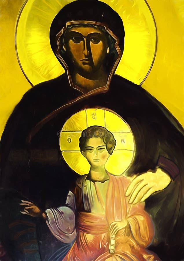 Virgem Maria e criança Jesus Pintura a óleo ilustração do vetor