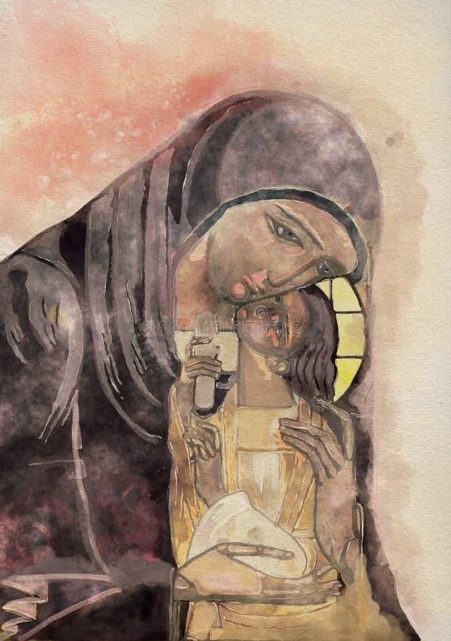 Virgem Maria e criança Jesus Pintura da aguarela ilustração stock