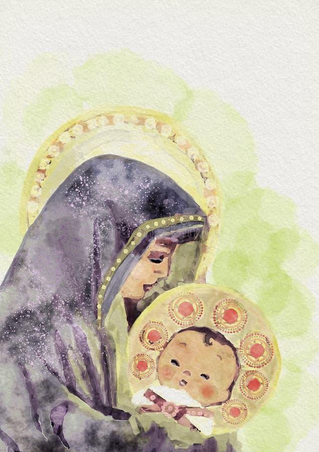 Virgem Maria e criança Jesus Pintura da aguarela ilustração do vetor
