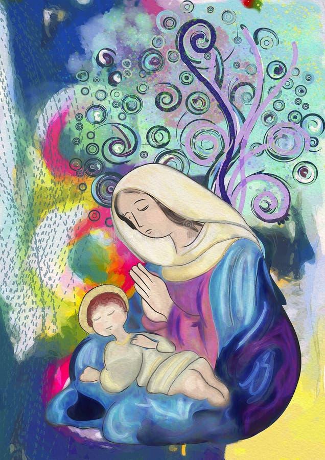 Virgem Maria e criança Jesus Pintura da aguarela ilustração royalty free