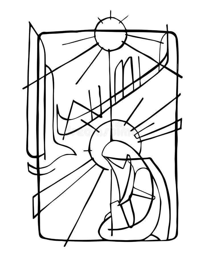 Virgem Maria e Espírito Santo na encarnação ilustração stock