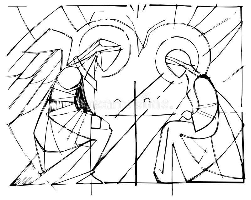 Virgem Maria e Gabriel Archangel no aviso ilustração do vetor