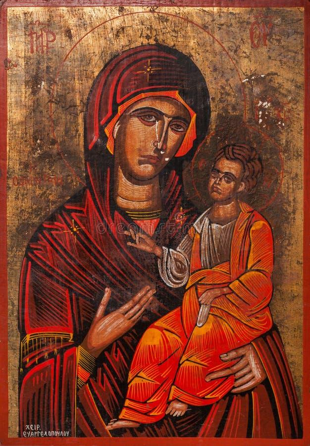 Virgem Maria que guarda a criança Jesus Eastern Orthod imagem de stock