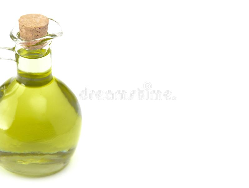 Virgen adicional Olive Oil en una botella tapada con corcho de cristal fotografía de archivo