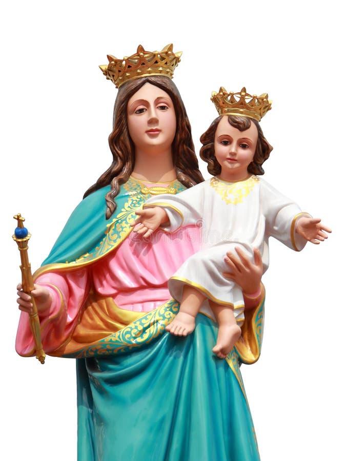 Virgen con la estatua de Jesús foto de archivo