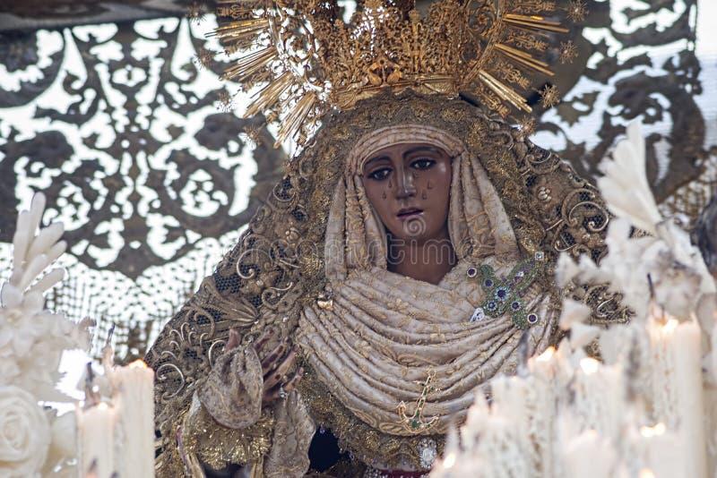 Virgen DE La Esperanza DE Triana, Heilige Week in Sevilla stock foto