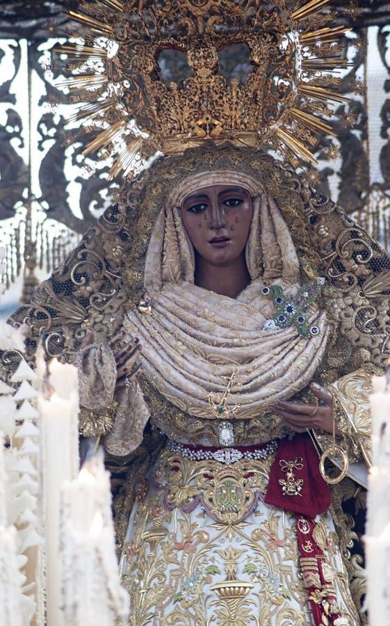Virgen DE La Esperanza DE Triana, Heilige Week in Sevilla royalty-vrije stock foto