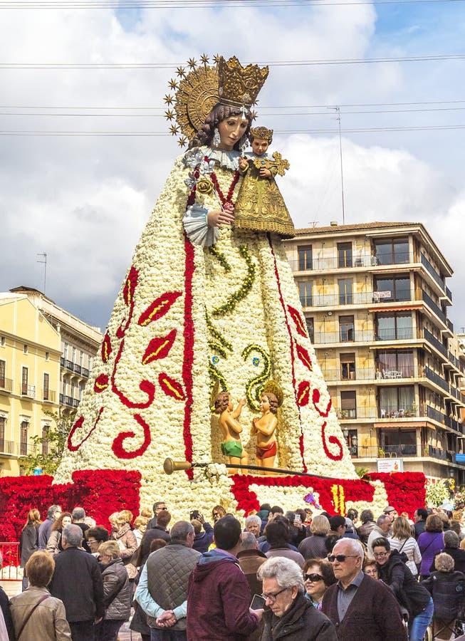 Virgen de los Desemparados in Fallas festival on Square of Saint stock images