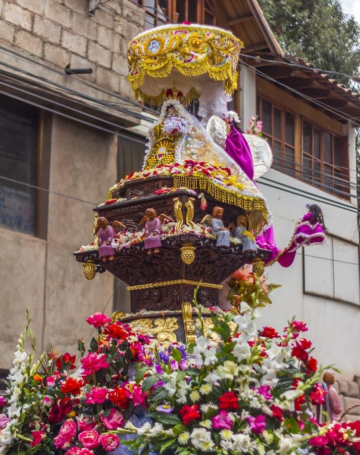 Virgen del Carmen pictogramparade Pisac Cuzco Peru royalty-vrije stock afbeelding