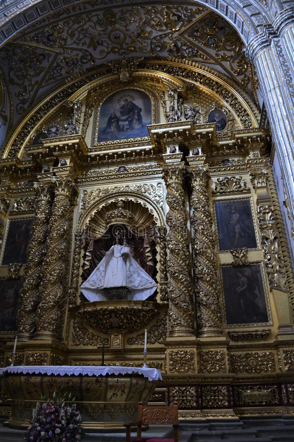 Virgen del Rosario3 de Santo Domingo  en Oaxaca. One of the most beautiful and important places in Oaxaca city, a place full of history. Amazing construction stock photography
