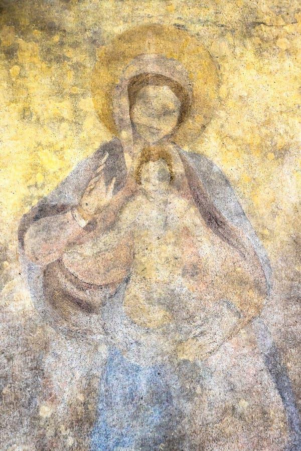 Virgen María bendecida con el bebé Jesús foto de archivo