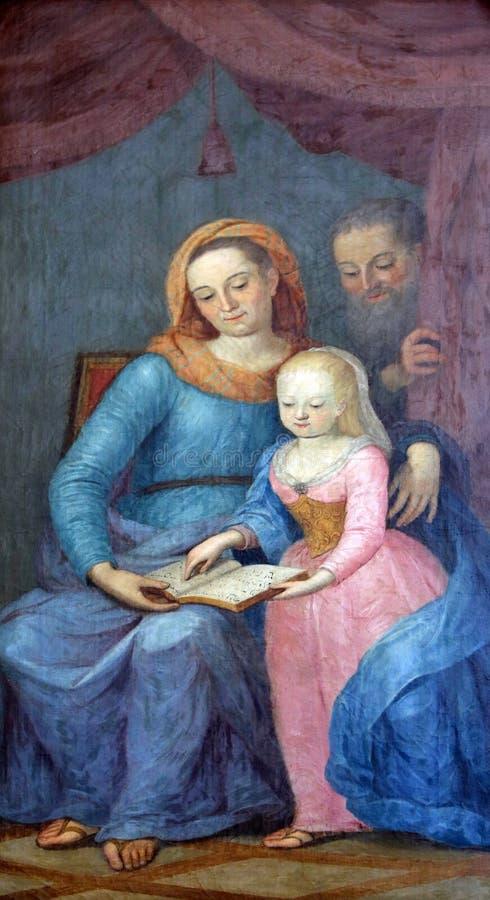 Virgen María bendecida con sus padres St Anne y St Joaquín imágenes de archivo libres de regalías