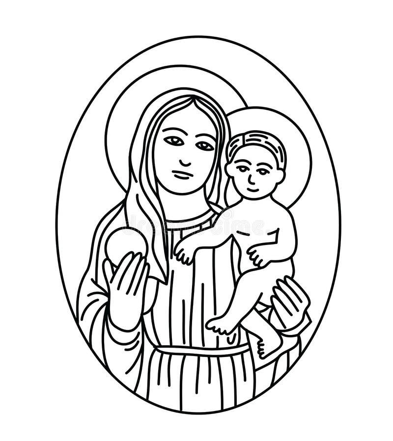 Virgen María con el bebé Jesus Sketch Drawing libre illustration
