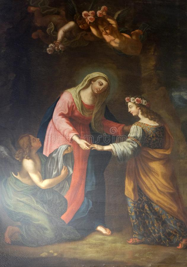 Virgen María con el santo Rosalia y ángeles fotografía de archivo libre de regalías