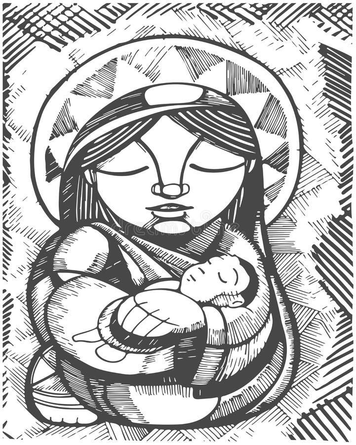 Virgen María de la madre stock de ilustración