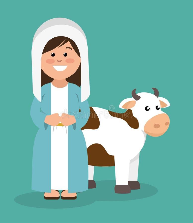 Virgen María y vaca lindas libre illustration