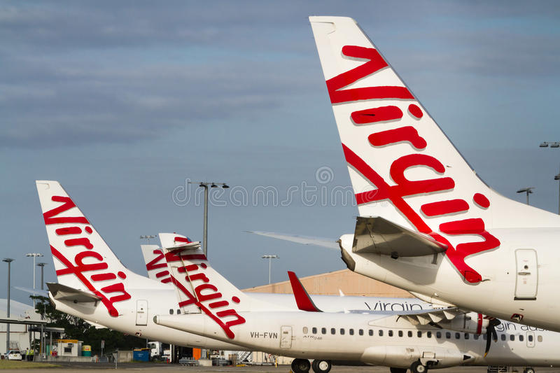 Virgin Airlines aircraft logos at airport stock image