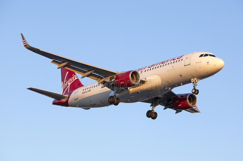 Virgin America Airbus A320 imagem de stock royalty free
