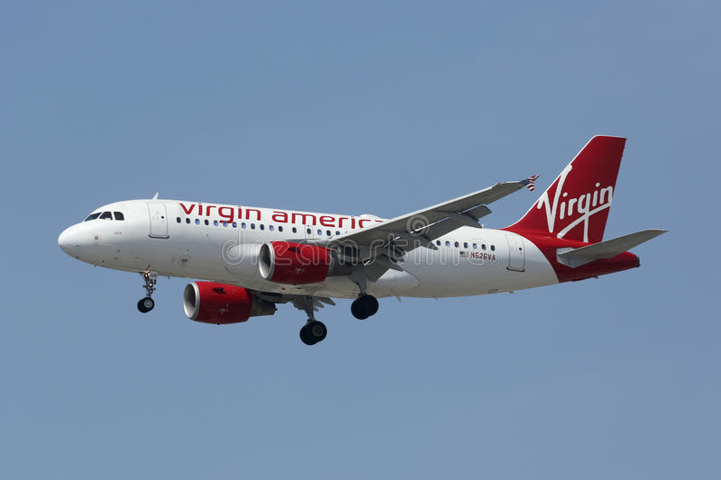 Virgin America Airbus A319. Los Angeles, California - April 19, 2014: A Virgin America Airbus A319 with the registration N526VA on approach to Los Angeles royalty free stock images
