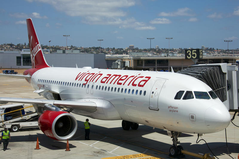 Virgin America. San Diego, California - June 5, 2015: United States-based airline that began service on August 8, 2007. Virgin America was the brainchild of Sir stock photo