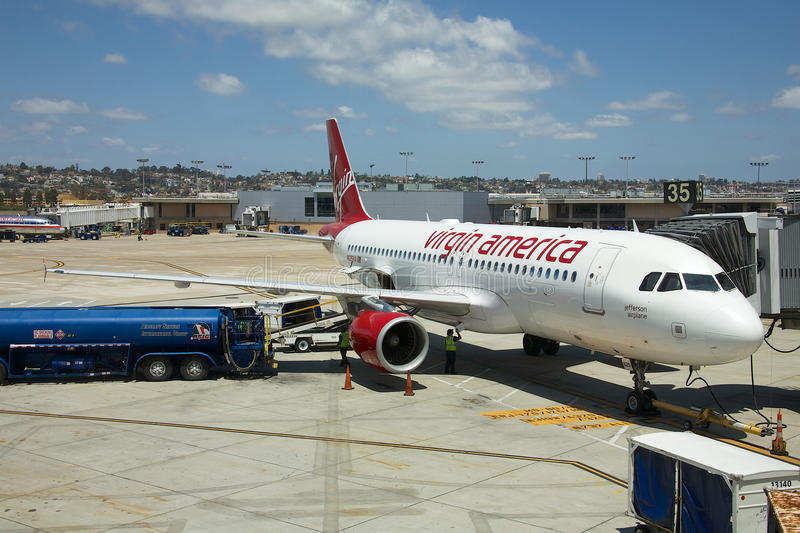 Virgin America. San Diego, California - June 5, 2015: United States-based airline that began service on August 8, 2007. Virgin America was the brainchild of Sir royalty free stock image