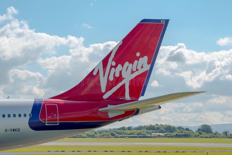 Virgin Atlantic Airways-Luchtbusa340 staart stock afbeelding