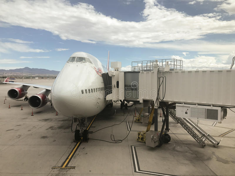 Virgin Atlantic B747-400, McCarran Airport,Las Vegas,. 2017-08-03, best-selling model of the 747 jet airliners. Virgin Atlantic is a British airline with its stock images
