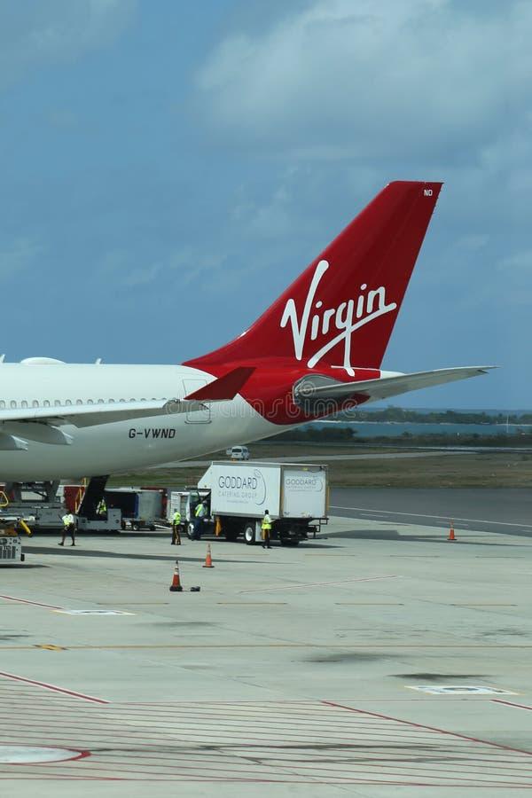 Virgin Atlantic plane on tarmac at the V. C. Bird International Airport in Antigua stock photos