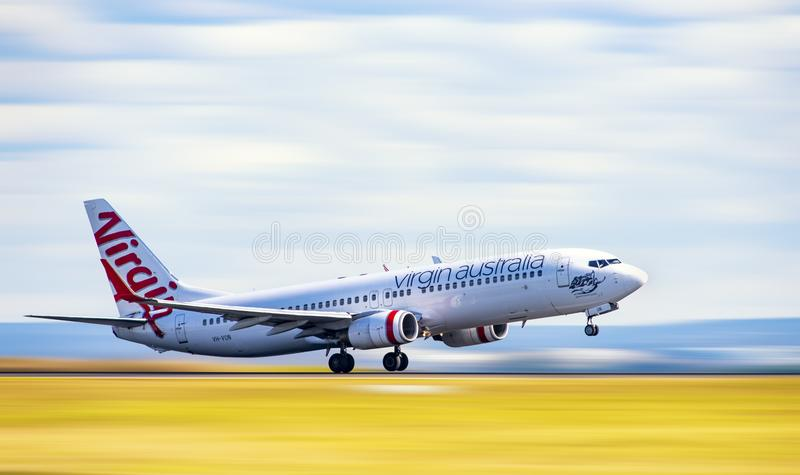 Virgin Australia Airbus taking off from Sydney stock photos