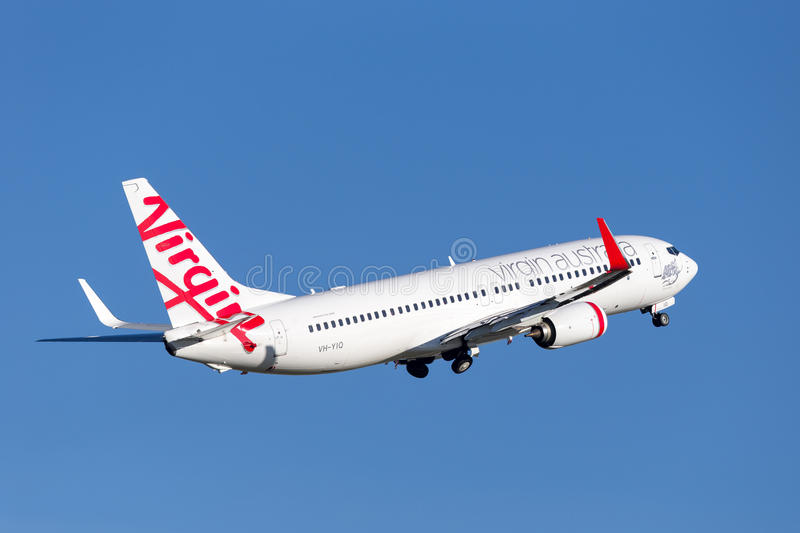 Virgin Australia Airlines Boeing 737-800 aircraft taking off from Sydney Airport. Sydney, Australia - May 5, 2014: Virgin Australia Airlines Boeing 737-800 royalty free stock photography
